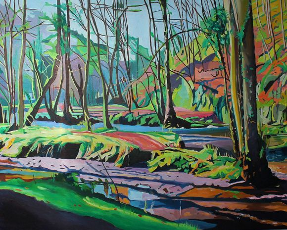 Painting of Welsh woods